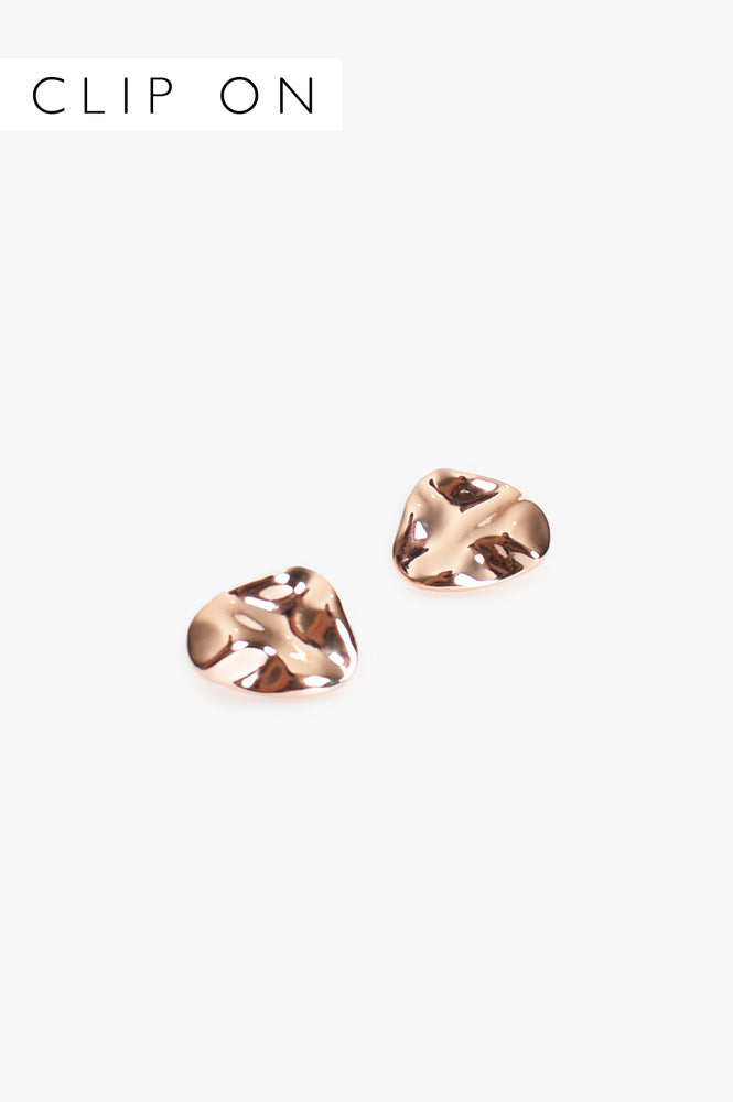 Moulded Metal Clip On Earrings (Rose)