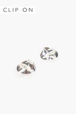 Moulded Metal Clip On Earrings (Silver)