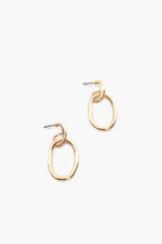 Oval Drop Mini Hoops (Gold)