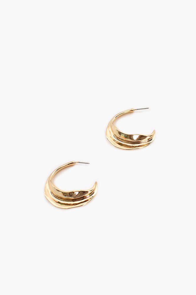 Hammered Swirl Hoop (Gold)
