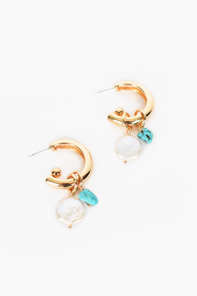 Pearl Stone Mix Drop Mini Hoops (Turquoise)