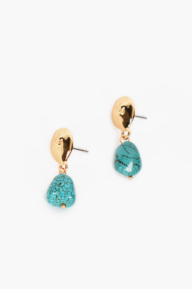 Turquoise Chunk Drop Earrings (Turquoise)
