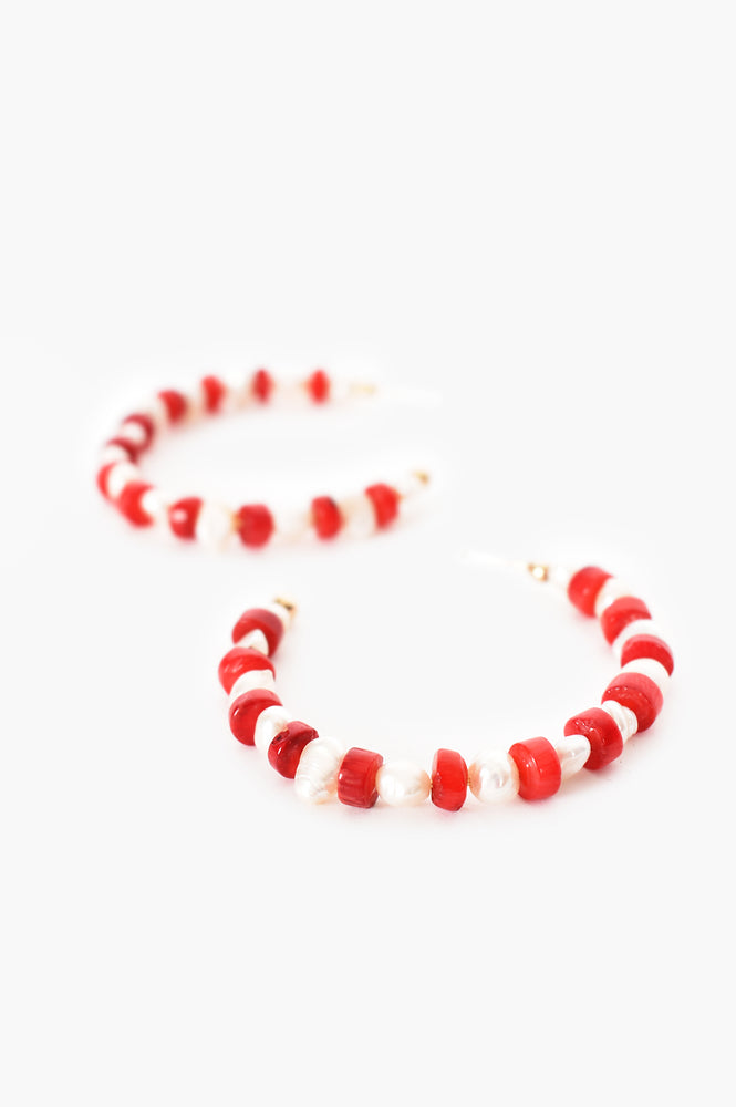 Stone Pearl Mix Hoops (Red)
