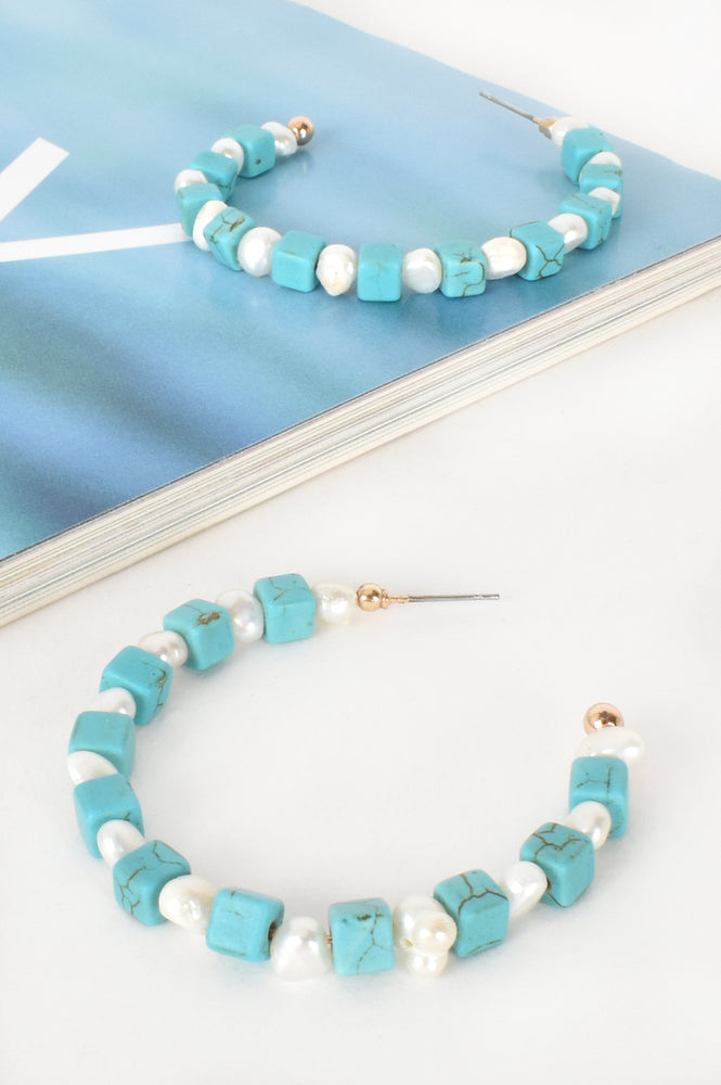Stone Pearl Mix Hoops( Turquoise)
