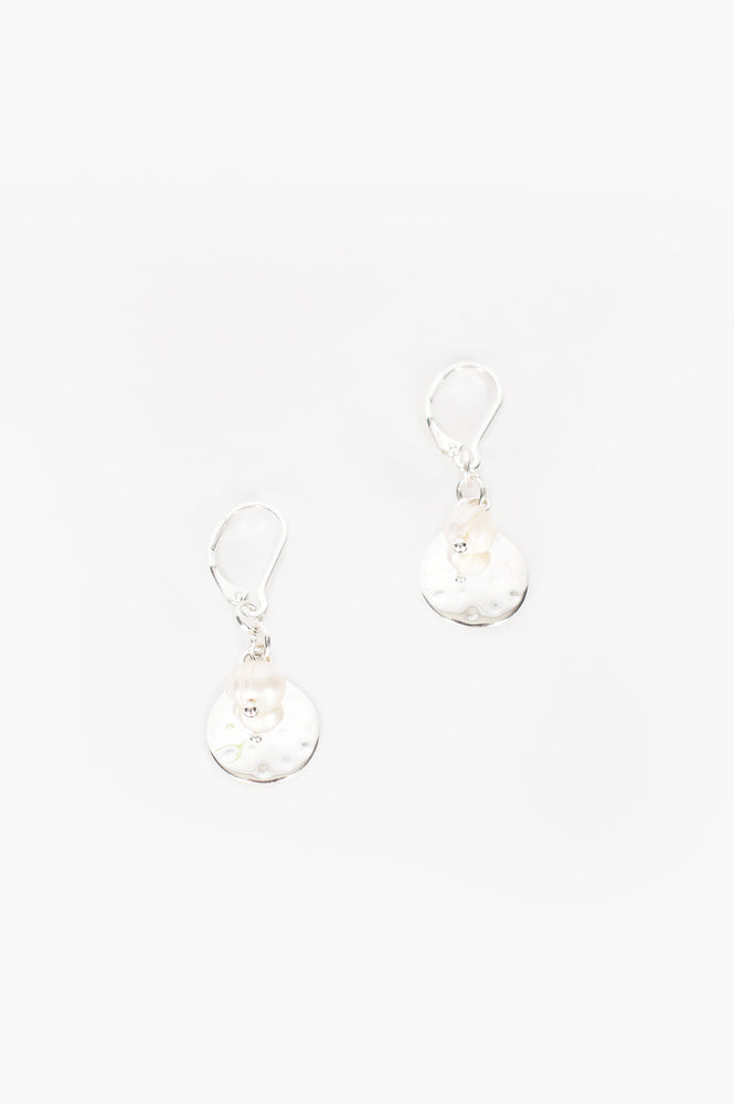 Pearl Disc Hook Earrings (Silver/Cream)