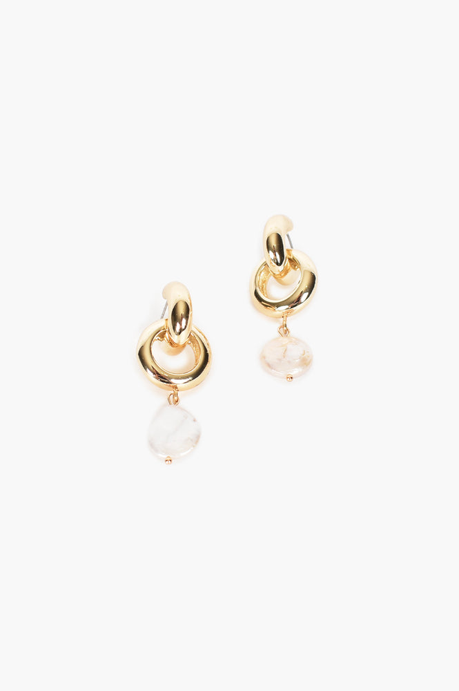 Big Pearl Ring Drop Mini Hoop Earrings (Cream/Gold)
