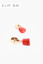 Coral Chunk Clip On Earrings (Red)