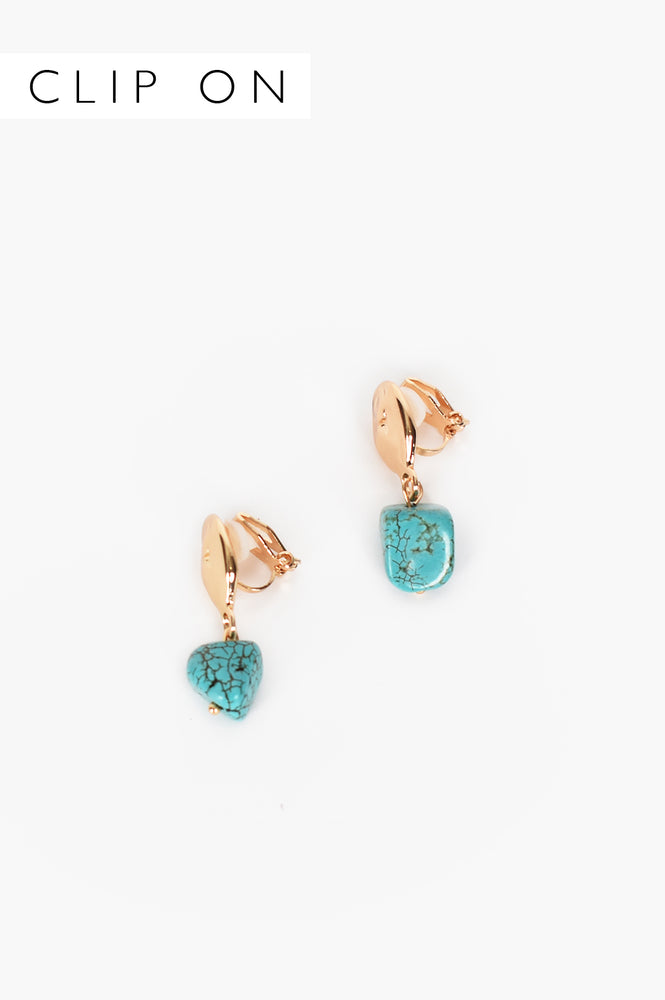 Turquoise Chunk Clip On Earrings (Turquoise)