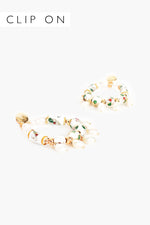 Pearl Drops Enamel Clip On Earrings (Multi/Gold)