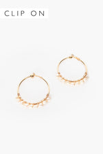 Wired Freshwater Pearl Hoops (Gold/Cream)