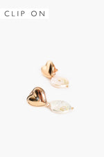 Hearts Desire Pearl Drop Earrings (Gold/Cream)