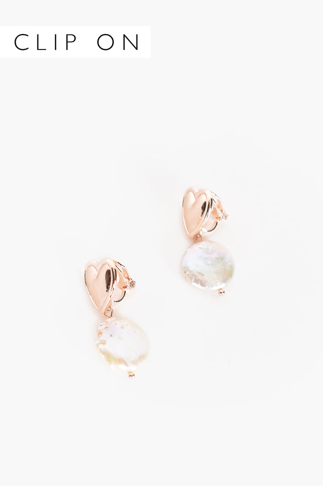 Hearts Desire Pearl Drop Earrings (Rose/Cream)