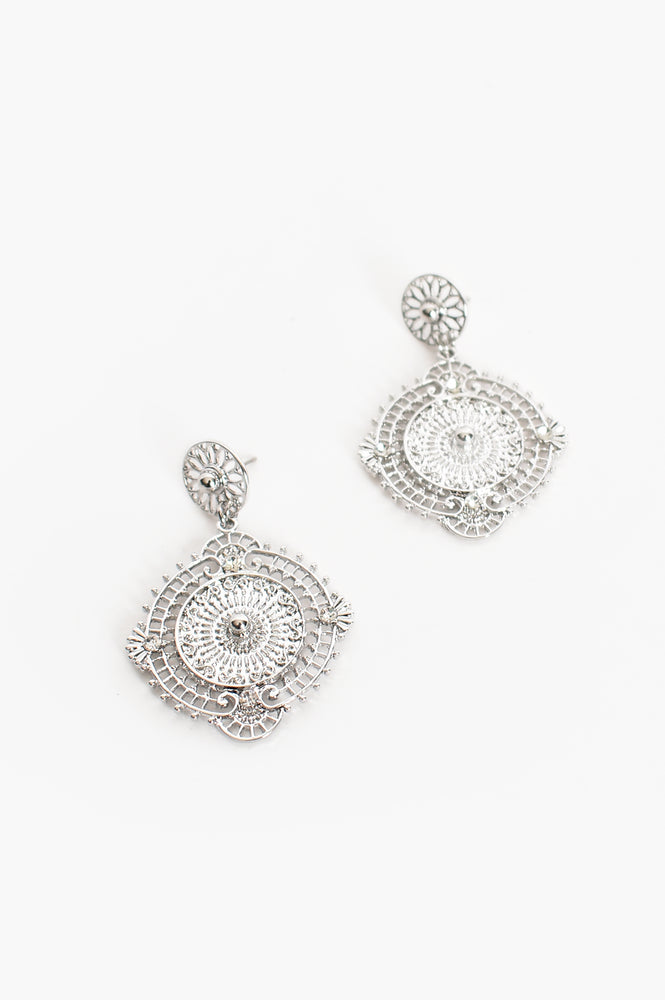 Freya Filigree Drop Earrings (Silver)