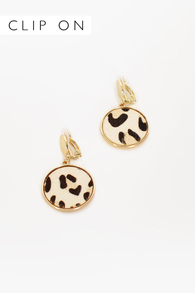 Hide Circle Drop Clip On Earrings (Camel)