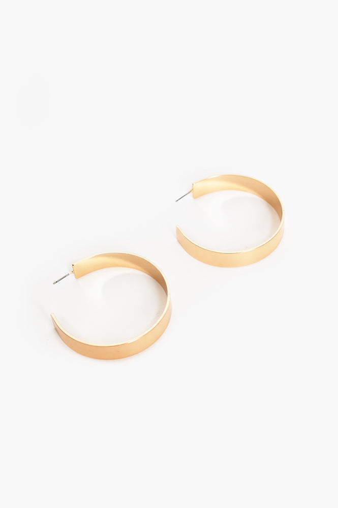 Kirra Flat Hoop Earrings (Gold)