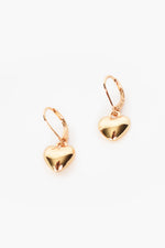 Heart Drop French Hook Earrings (Gold)
