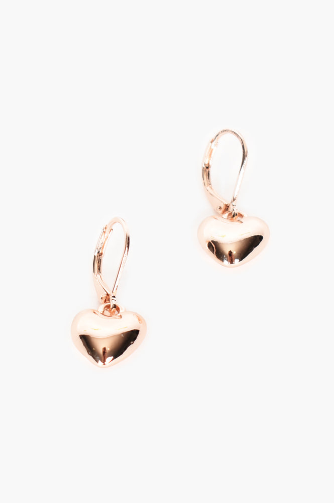 Heart Drop French Hook Earrings (Rose)