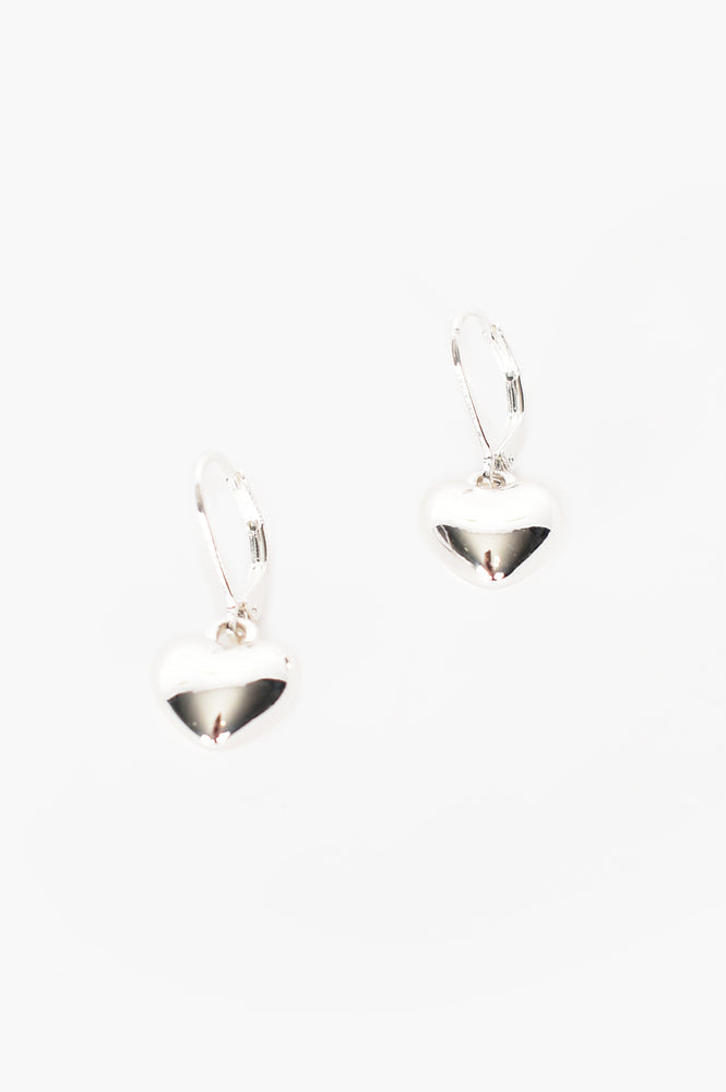 Heart Drop French Hook Earrings (Silver)