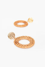 Roman Disc Top Rattan Earrings (Tan)