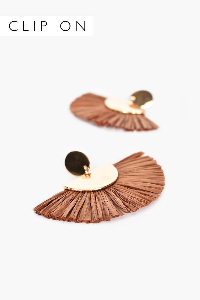 Bobbi Raffia Fringe Clip On Earrings (Chocolate)