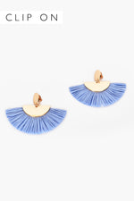 Bobbi Raffia Fringe Clip On Earrings (Denim)