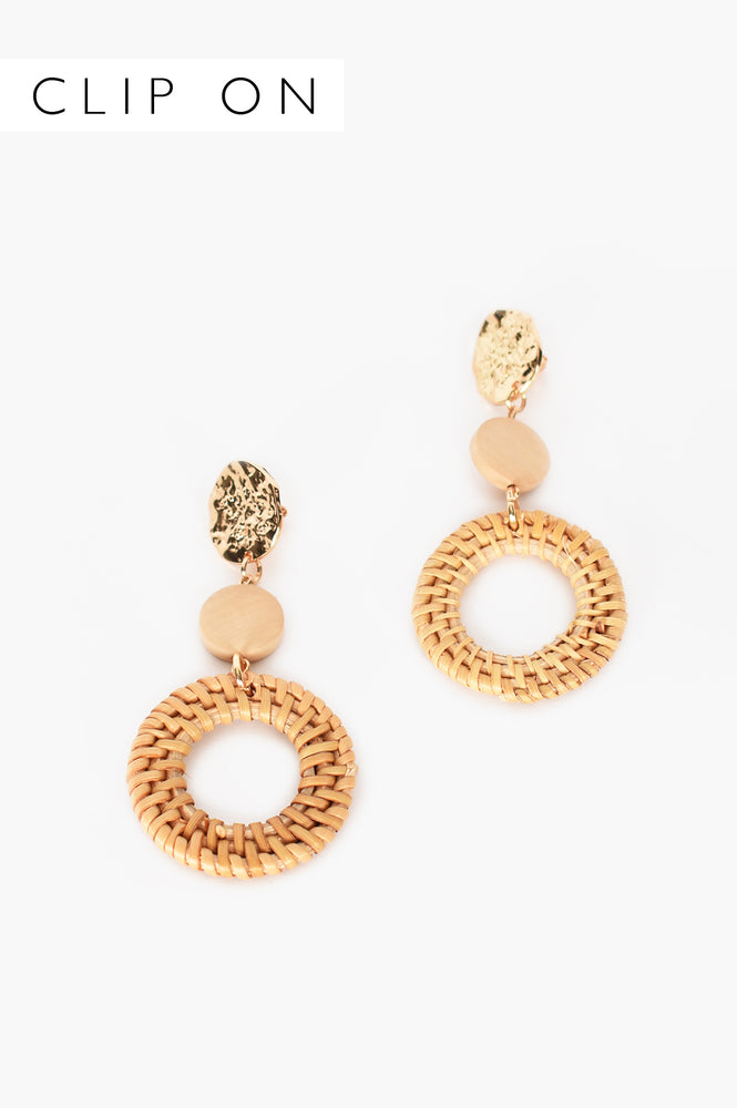 Rattan Ring Drop Metal Top Clip On Earrings (Gold/Tanx)