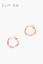 Midi Twist Clip On Hoops (Rose)