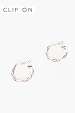 Midi Twist Clip On Hoops (Silver)