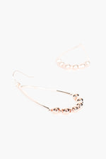 Ball Detail Oval Drop Hook Earrings (Rose)