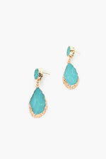 Gilded Edge Stone Look Earrings (Teal)