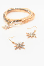 Star Charm Hook Earrings (Crystal /Gold)