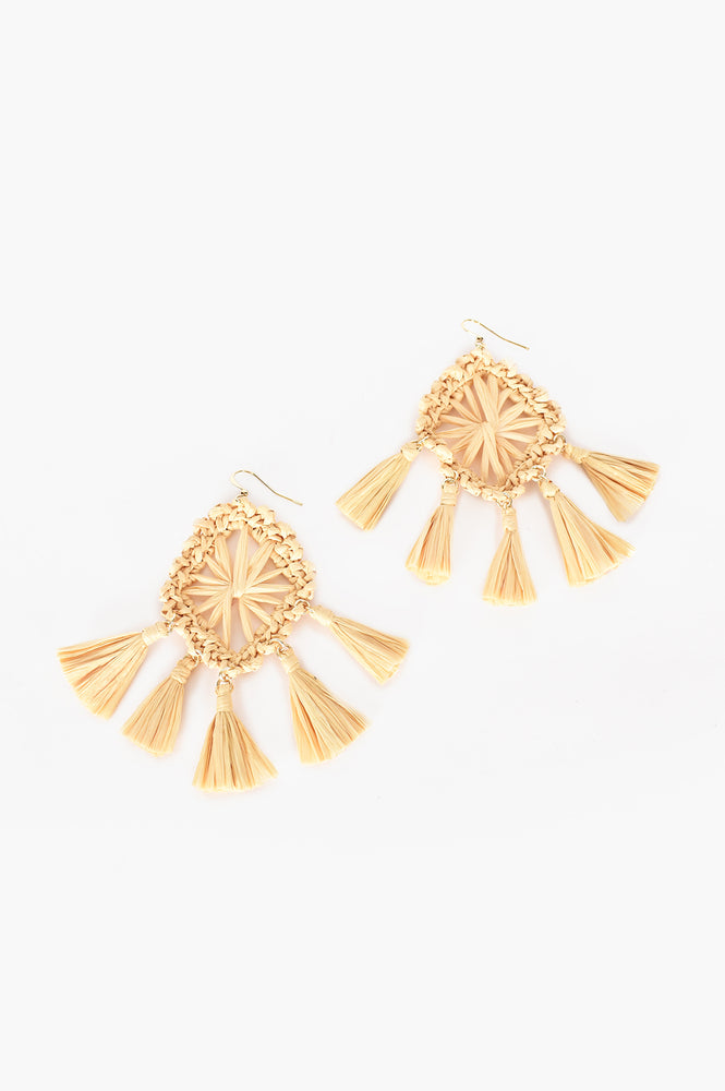 Raffia Diamond Tassel Drop Earrings (Camel)