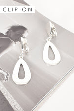 Metal Teardrop Clip On Earrings (Silver)
