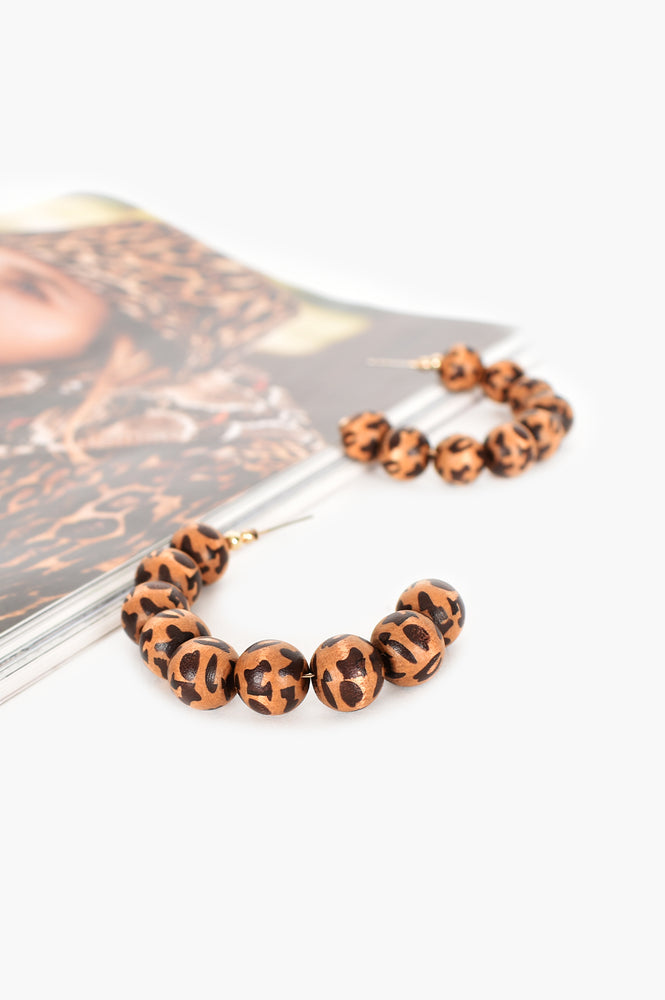 Animal Print Hoops (Tan/Gold)