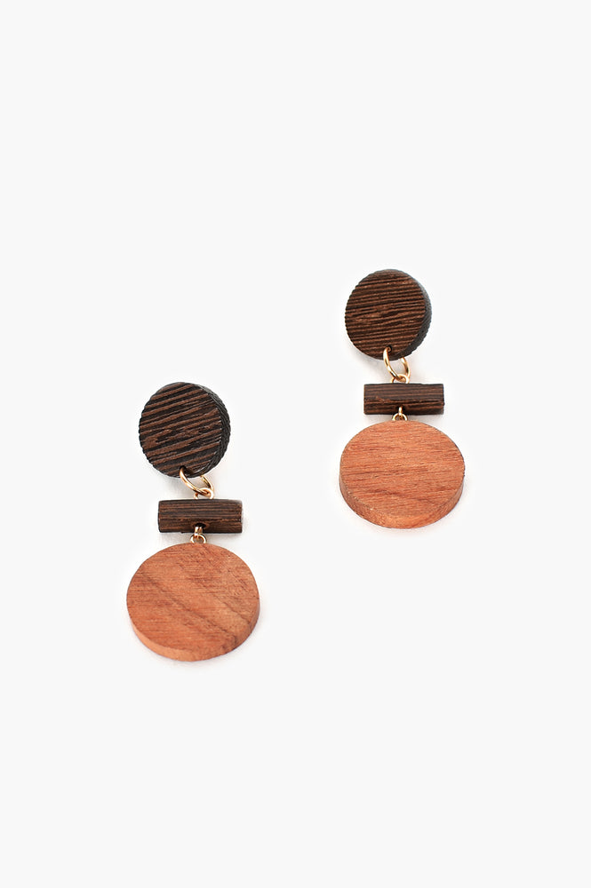 Timber Shapes Earrings (Tan/Gold)
