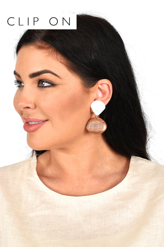 Mother of Pearl Timber Mix Clip On Earrings (Cream/Tan)