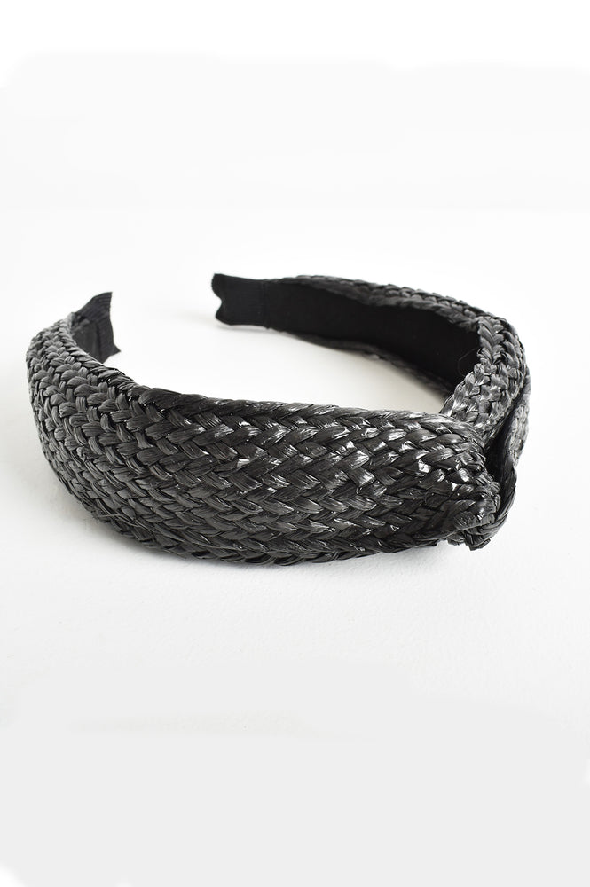 Bonnie Wide Plaited Raffia Knot Headband (Black)