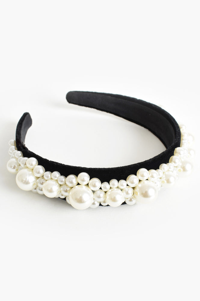 Princess Pearls Wide Headband (Cream/Black)