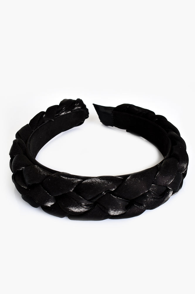Satin Plait Headband (Black)
