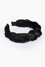 Mini Satin Plait Headband (Black)