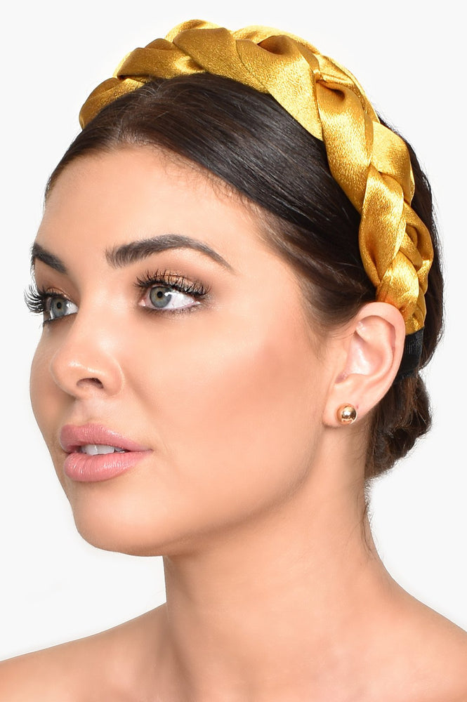 Mini Satin Plait Headband (Mustard)