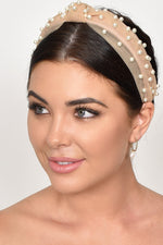 Organza Pearl Knotted Headband (Black/Cream)