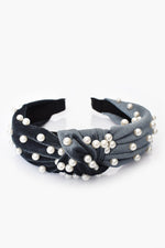 Velvet Pearl Knotted Headband (Blue/Cream)