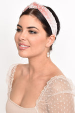Velvet Pearl Knotted Headband (Pink/Cream)