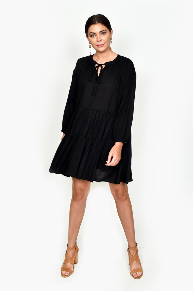 Lulu Tiered Dress (Black)