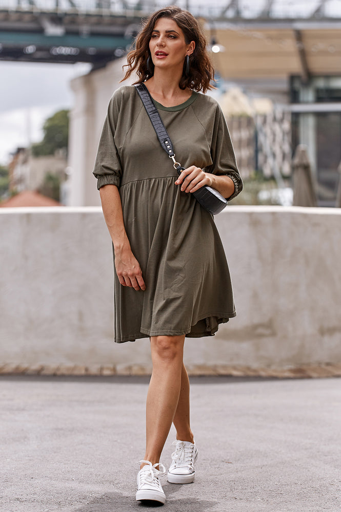 Tilly Jersey Cotton Dress (Khaki)