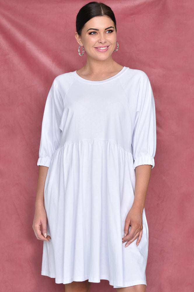 Tilly Jersey Cotton Dress (White)