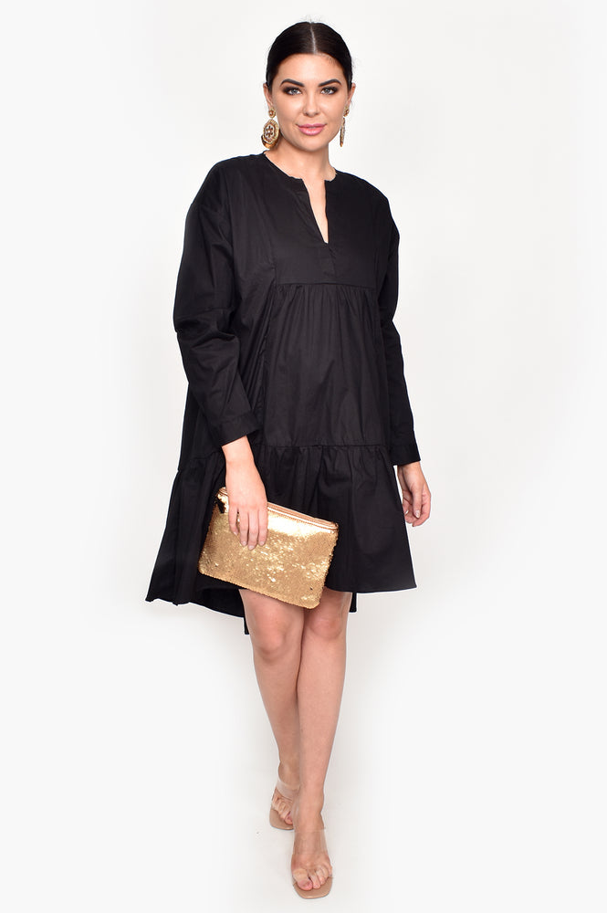 Chelsea Raw Edge Tiered Dress (Black)
