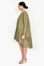 Chelsea Raw Edge Tiered Dress (Moss)