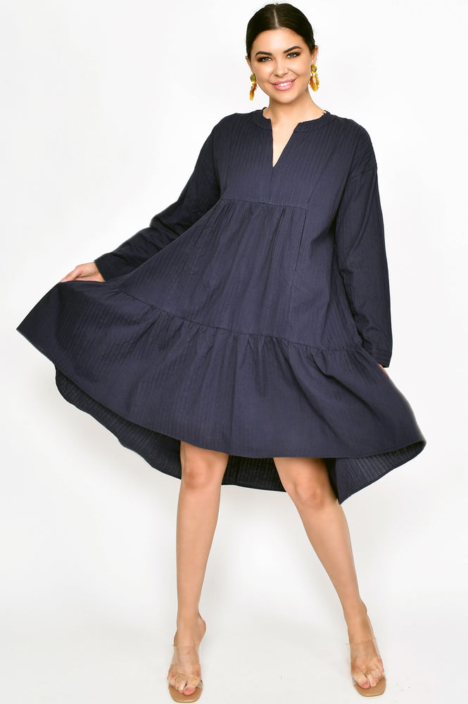 Chelsea Stripe Raw Edge Tiered Dress (Navy)